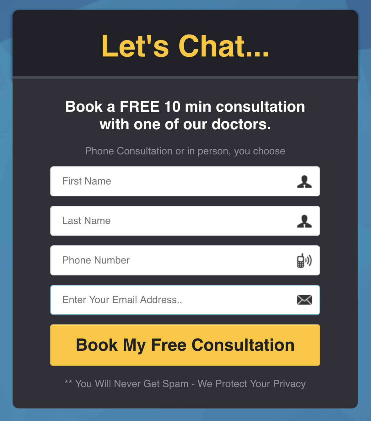 Book a Free 10 Minute Consultation